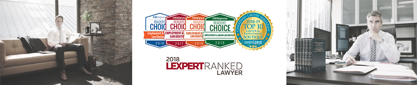 Employment Lawyers Daniel Lublin and David Whitten working in office along with logos of Lexpert Ranked Lawyer and HR Readers Choice Award 2019 to 2016