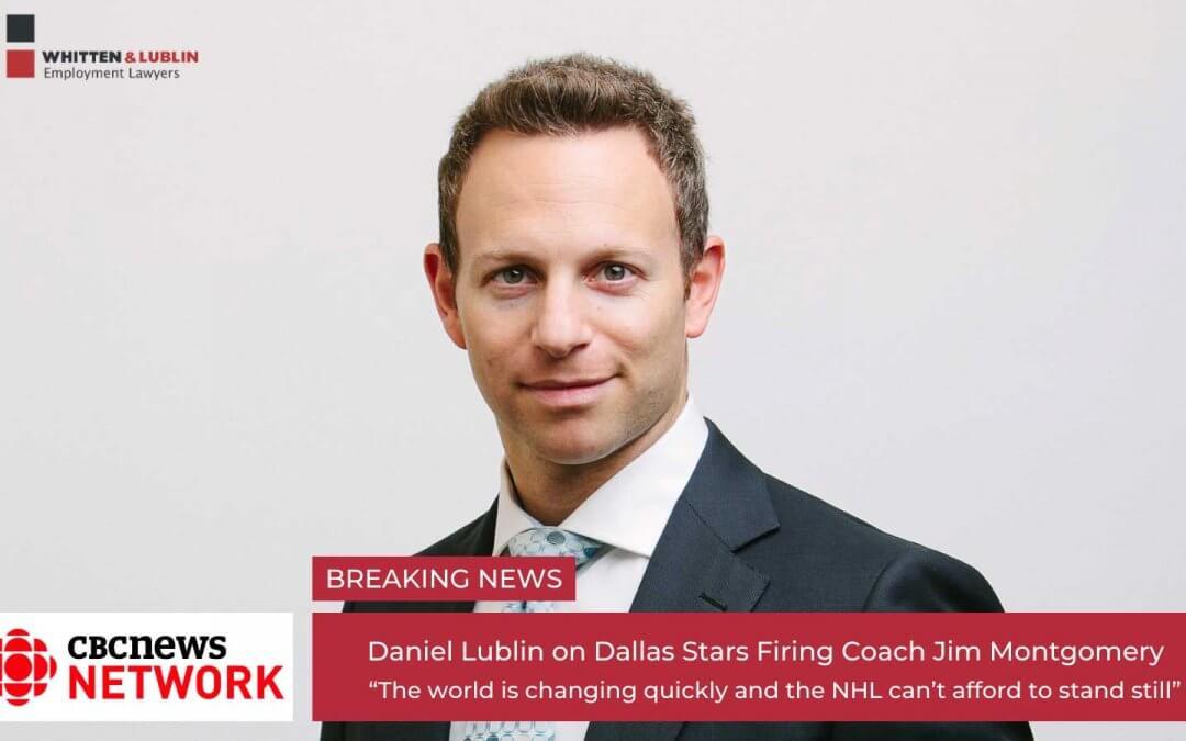 Daniel Lublin on CBC News – Dallas Stars Fire Coach Jim Montgomery